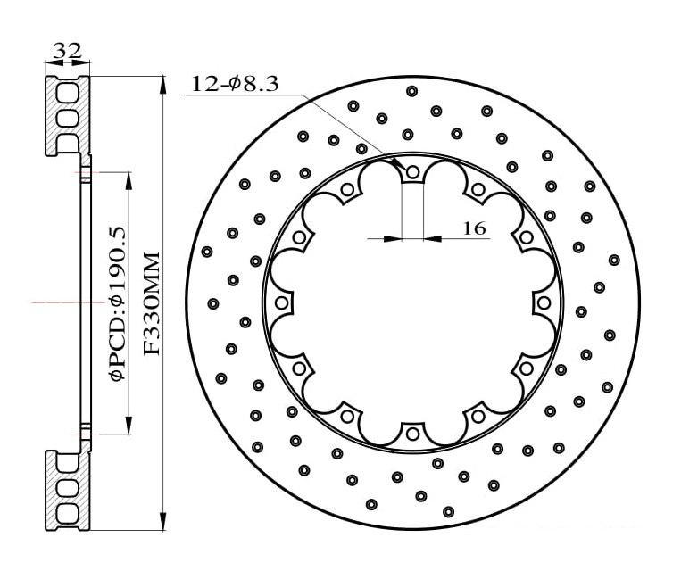 Tarcze hamulcowe nawiercane do zestawu Big Brake 330mm 2011+ - GRUBYGARAGE - Sklep Tuningowy